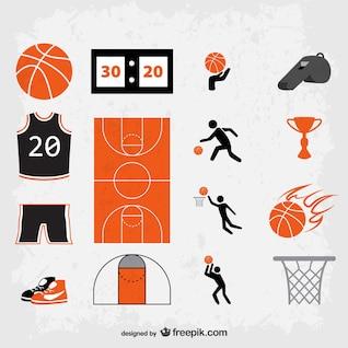 Símbolos de basquete grunge vector