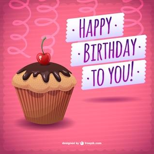 Cartão de feliz aniversário download gratuito bolo