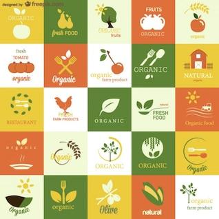 Símbolos vetor alimentos orgânicos definidos