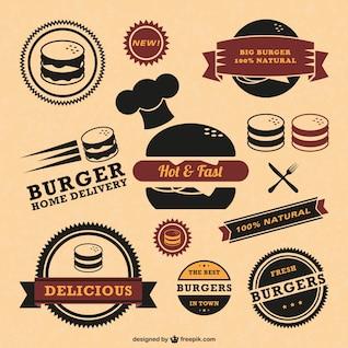 Retro vetor emblemas de qualidade de fast food