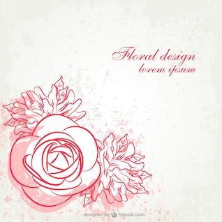 Projeto da arte grunge linha floral