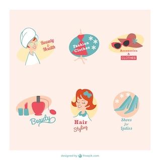Beleza e saúde retro emblemas