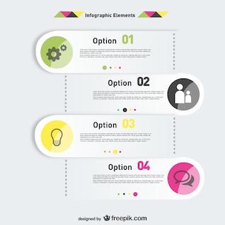 Opções de elementos infográficos etiquetas projeto