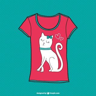Projeto bonito do t-shirt do gato