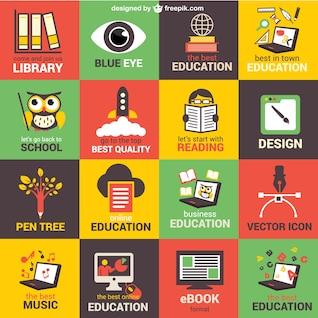 Elementos gráficos planos de educação livre
