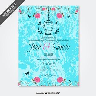 Grunge floral convite de casamento