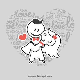 Casal casamento dos desenhos animados do vetor