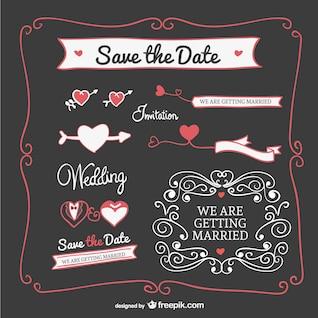 Elementos gráficos de convite de casamento