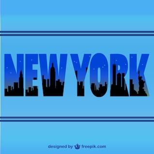 Nova Iorque horizonte vetor silhueta tipográfica