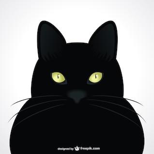 Carrinho preto olhos verdes vetor retrato