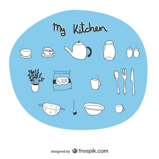 Utensílios de cozinha desenhos esboçado
