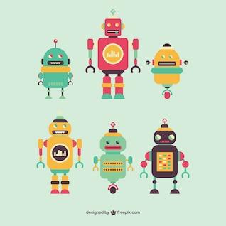 Robôs retros do vetor definido