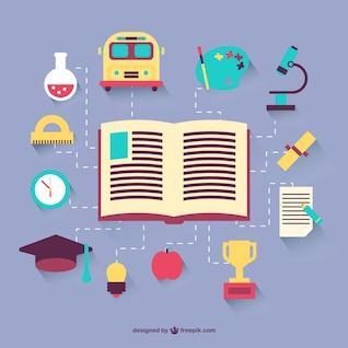 ícones lisos educação definidos