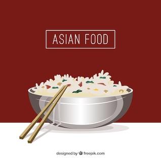 Arte vetor comida asiática
