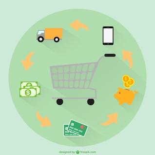 Supermercado fazer compras vetor
