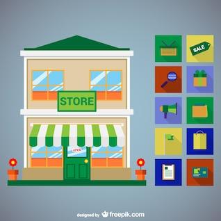 Conjunto de lojas ícones vetor