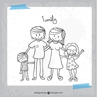Estilo do doodle família vetor