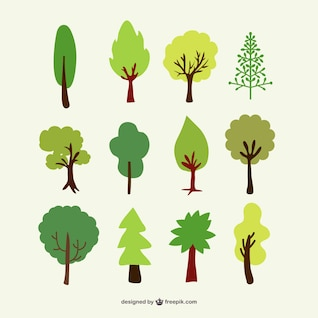Conjunto de árvores florestais vetor