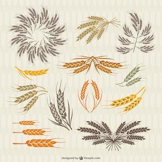 Coleção vintage da coroa e as orelhas do trigo