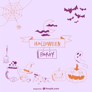 Itens cartão decorativo doodle para o dia das bruxas