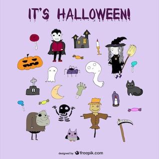 Conjunto de ícones de Halloween agradável desenhos animados