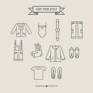Ícones de vestuário poligonais definir