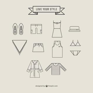 Fashion icons roupas vector