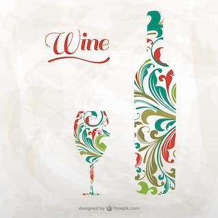 Garrafa de vinho artístico e vidro