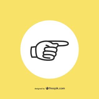ícone plano mão que aponta de lado
