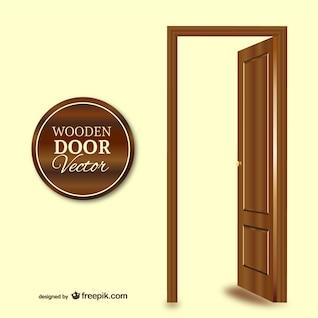 Porta de madeira do vetor