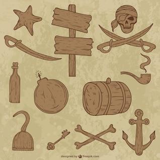 Coleção de objetos de madeira pirata