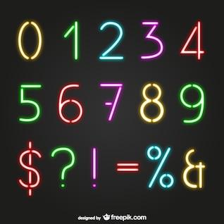 Números de estilo neon