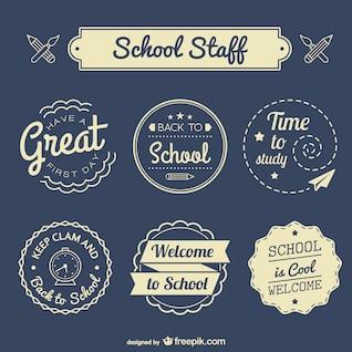 De volta à escola emblemas definido