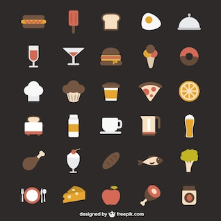 ícones coloridos de alimentos