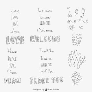 Mão, desenhado, ornamentos e palavras