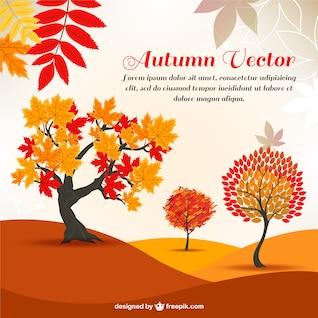 Outono árvores desenhos animados do vetor padrão de fundo