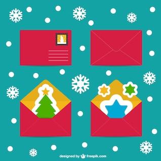 Natal envelopes dos cartões vetores