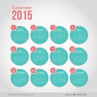 2015 calendário com formas redondas minimalistas
