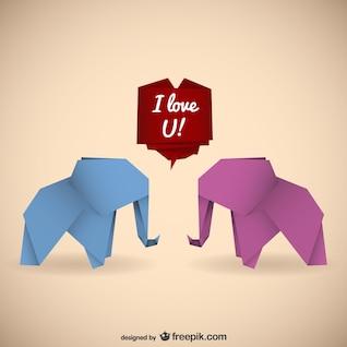 Elefantes do origami com mensagem de amor