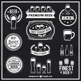 Rótulos de cerveja preto e branco
