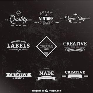 Preto estilo retro e etiquetas brancas