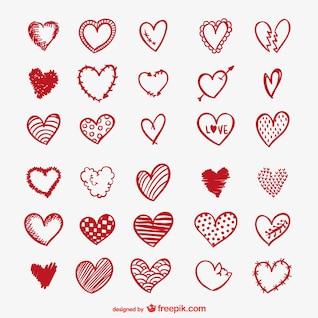 Desenhos do coração vermelho