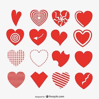 Coleção corações artística vermelha