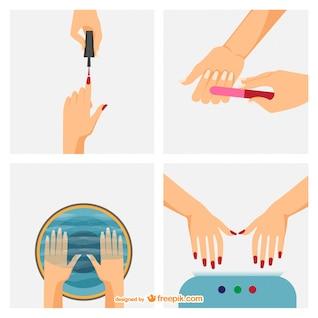 Passos manicure vector