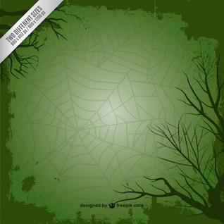 Fundo verde com teia de aranha para o Halloween
