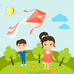 Crianças com pipa em dia ensolarado