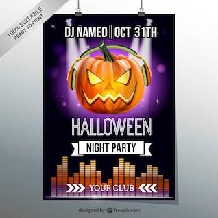 Halloween festa flyer noite com abóbora