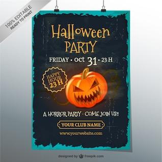 Grunge halloween modelo de cartaz partido