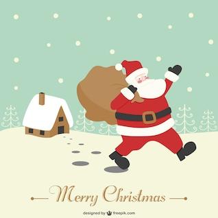 Papai Noel retro vector