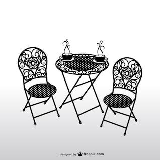 Cadeiras vintage e café